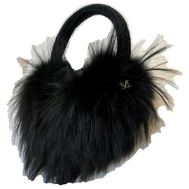 Maison Michel-Fox Fur Victoria Maxi earmuffs-Black