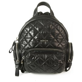 Moncler-MONCLER Florine Small Backpack in black quilted nylon fabric bag zipper pockets-Black