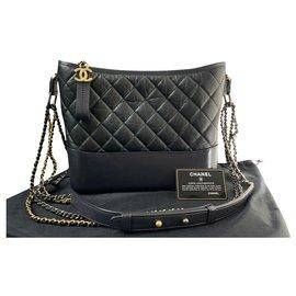 Chanel-CHANEL Large CHANEL GABRIELLE hobo bag BLACK LEATHER-Black