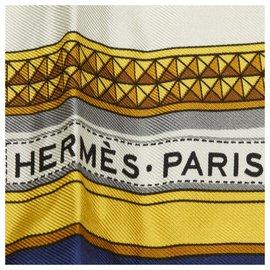Hermès-Hermes White Grand Apparat Silk Scarf-White,Multiple colors