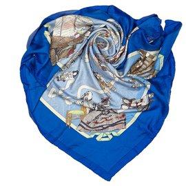Hermès-Hermes Blue Hello Dolly Silk Scarf-Blue,Multiple colors