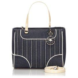 Dior-Dior Blue Denim Satchel-White,Blue,Dark blue