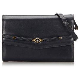 Gucci-Gucci Black Leather Crossbody Bag-Black