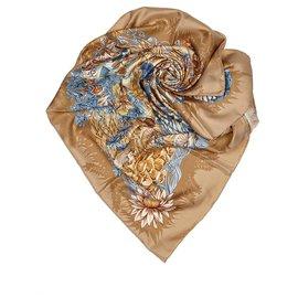 Hermès-Hermes Brown LIle Deserte Silk Scarf-Brown,Multiple colors