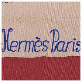 Hermès-Hermes Brown Nuba Mountain Silk Scarf-Brown,Multiple colors,Beige