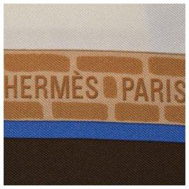 Hermès-Hermes Brown Les Haras Nationaux Silk Scarf-Brown,Multiple colors,Beige