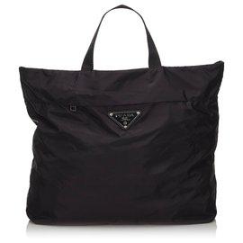 Prada-Prada Black Nylon Tote Bag-Black