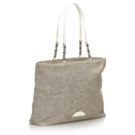Dior-Dior Gray Denim Malice Tote Bag-White,Other,Grey