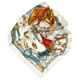 Hermès-Hermes White Musee Silk Scarf-White,Multiple colors,Cream