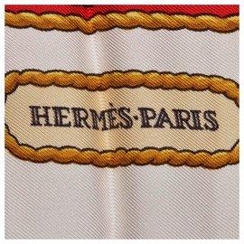 Hermès-Hermes White Hommage a Charles Garnier Silk Scarf-White,Multiple colors