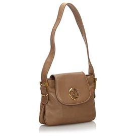 Gucci-Gucci Brown 1973 Leather Shoulder Bag-Brown,Beige