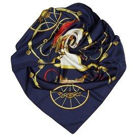 Hermès-Hermes Blue Springs Silk Scarf-Blue,Multiple colors,Navy blue