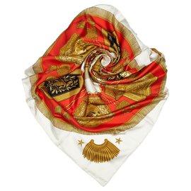 Hermès-Hermes Red Poste et Cavalerie Silk Scarf-Red,Multiple colors