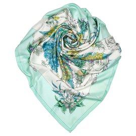 Hermès-Hermes Green Pythagore Silk Scarf-Multiple colors,Green,Light green