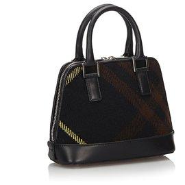 Burberry-Burberry Black Plaid Wool Handbag-Black,Multiple colors