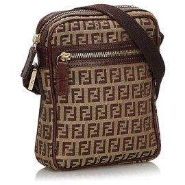 Fendi-Fendi Brown Zucchino Canvas Crossbody Bag-Brown,Beige,Dark brown