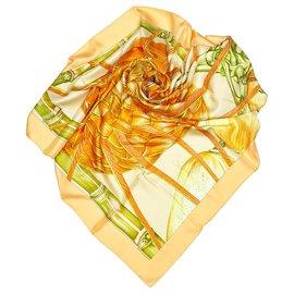 Hermès-Hermes Orange Jardin Creole Silk Scarf-Multiple colors,Orange