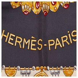 Hermès-Hermes Gray Parures des Sables Silk Scarf-Multiple colors,Other,Grey