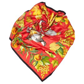 Hermès-Hermes Red Fructidor Silk Scarf-Red,Multiple colors