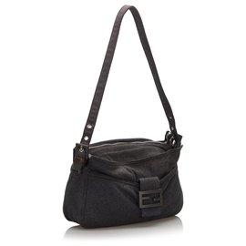 Fendi-Fendi Gray Cotton Shoulder Bag-Other,Grey
