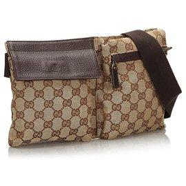 Gucci-Gucci Brown GG Canvas Belt Bag-Brown,Beige