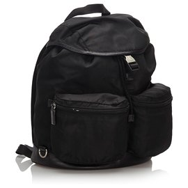 Prada-Prada Black Nylon Drawstring Backpack-Black