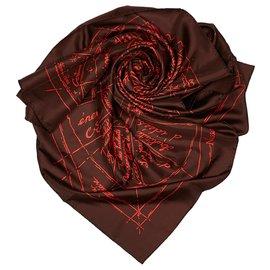 Hermès-Hermes Brown Naissance dune Idee Silk Scarf-Brown,Red,Dark brown