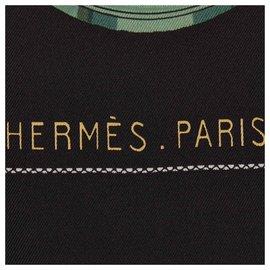 Hermès-Hermes Black Gastronomie Silk Scarf-Black,Multiple colors