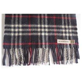Burberry-BURBERRY Cashmere scarf-Navy blue