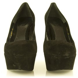 Alexander Mcqueen-Alexander McQueen Armadillo Wedge Platform Heels Black suede sz 41 shoes pumps-Black