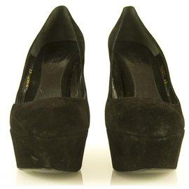 Alexander Mcqueen-Alexander McQueen Talons compensés à talons compensés en daim noir sz 41 chaussures pompes-Noir