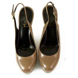 Yves Saint Laurent-Yves Saint Laurent YSL Tribute Light Brown Leather Slingback Platform Heels Pumps 37-Brown,Caramel