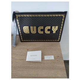 Gucci-Pochette Gucci GUCCY-Noir,Doré