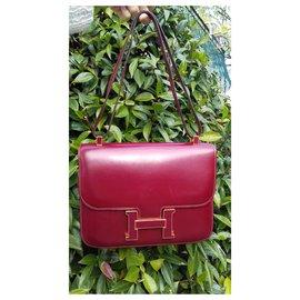 Hermès-Sac à main Hermès Constance Box Rouge H 23 cm Boucle émaillée-Rouge