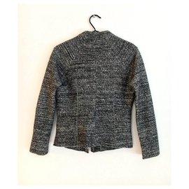 Isabel Marant Etoile-veste courte tweed laine & coton-Gris anthracite