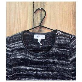 Isabel Marant Etoile-pull  détail cuir-Gris anthracite