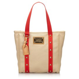 Louis Vuitton-Louis Vuitton Brown Antigua Cabas MM-Brown,Red,Beige