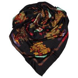 Hermès-Hermes Black Les Beaux Jours de Bonsai Silk Scarf-Black,Multiple colors