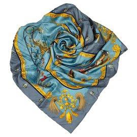 Hermès-Hermes Blue Plumes et Grelots Silk Scarf-Blue,Multiple colors,Light blue
