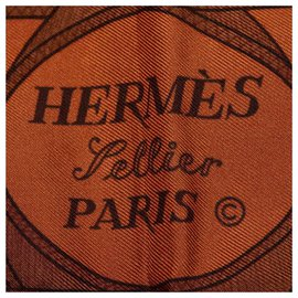 Hermès-Hermes Brown Eperon dOrSilk Scarf-Brown,Multiple colors,Light brown