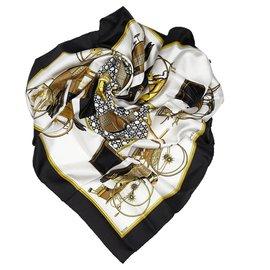 Hermès-Hermes White Les Voitures a Transformation Silk Scarf-White,Multiple colors