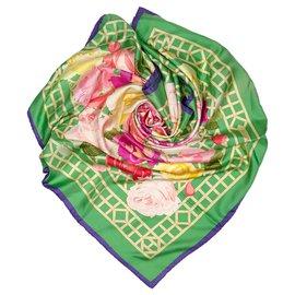 Hermès-Hermes Green Roseraie Silk Scarf-Multiple colors,Green