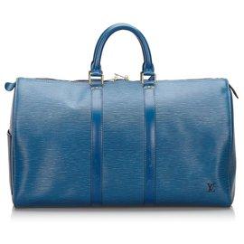 Louis Vuitton-Louis Vuitton Blue Epi Keepall 50-Blue