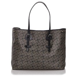 Céline-Celine Black Carriage Tote-Black,Grey