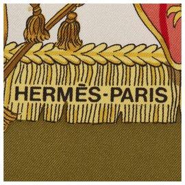 Hermès-Hermes White Caparacons de la France et de lInde Silk Scarf-White,Multiple colors,Cream