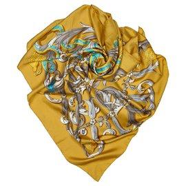 Hermès-Hermes Brown Mors a la Conetable Silk Scarf-Brown,Multiple colors,Light brown