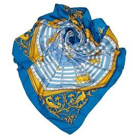 Hermès-Hermes Blue Dies et Hore Silk Scarf-Blue,Multiple colors