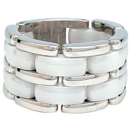 """Chanel-Chanel ring """"Ultra"""" large model in white gold and white ceramic.-Other"""