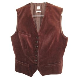 Hermès-Hermès cotton and silk vest new condition t 40-Dark brown