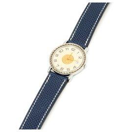 Hermès-SELLIER STEEL GOLD 32-Argenté